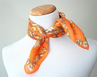 Vintage Orange Geometric Scarf