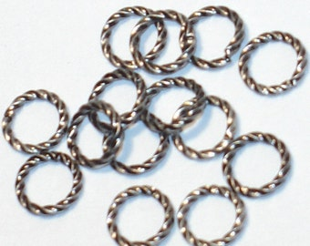 100 pcs of Antiqued silver plated fancy jumpring 8mm round 16 gauge