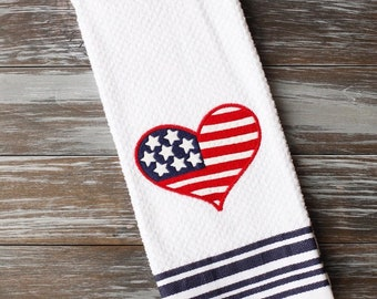 Americana Towel, 4th of July Decor, Embroidered Kitchen Towel