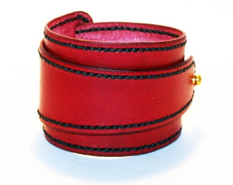 Red Leather Cuff!Red Bracelet! Great Gift! Red Cuff! Very Nice Bracelet!