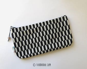 Large black and white make up pouch