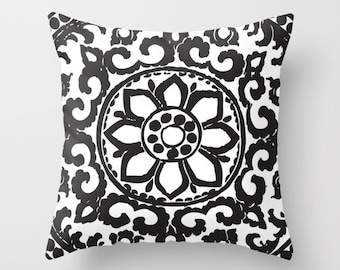 Art Deco pillow with insert  - Black and White  Abstract Flower Throw pillow with insert - Modern Home Decor - By Aldari Home