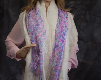 Alpaca nuno wet felted scarf with silk embellishment