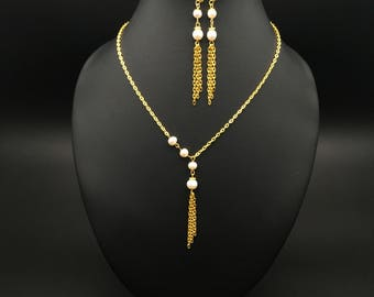 Elegant Gold-Plated Necklace with Freshwater Pearls, Long Gold-Plated Earrings, Gift Idea, Necklace for Women, Jewelry Set