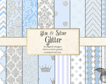 Blue and Silver Glitter Digital Paper - 16 Pack Premium Backgrounds, Classic Patterns, Polka Dot, Quatrefoil for Commercial Use