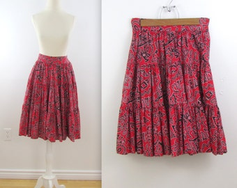 Lola Tiered Ruffle Skirt - Vintage Esprit Full Skirt in Red and Black in Small