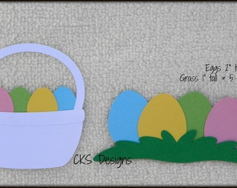 Die Cut Easter Egg Hunt Basket Premade Paper Piecing Embellishment for Card Making Scrapbook or Paper Crafts