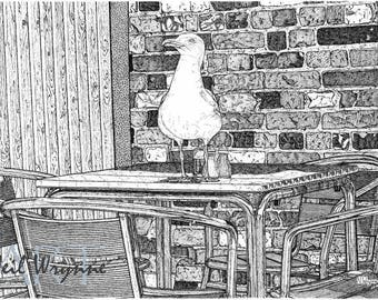 Seagull Bird Drawing wall Art - Reservation For One - Bird Art Print Seagull Whitstable Cafe Table Pen and Ink Drawing