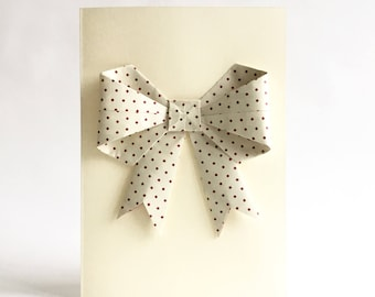 Origami Bow, Origami Bow Card, 3D Bow Card, Big Bow Card, Origami Art, Girly Card, Dotted White Bow