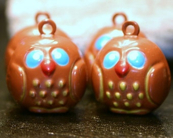 4 Metal Wise Owl Bell Charms Brown Tan Painted Brass Woodland Woodsy Pooh Nocturnal Animal Bird Jingle Bell Big Blue Eyes Forest Woods