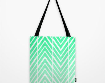 Mint Green Tote Bag - Grocery Bag - Beach Bag - Book Bag - Green and White - Unusual Tote Bag - Made to Order