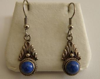 Delicate Vintage Sterling Silver & Blue Lapis Earrings