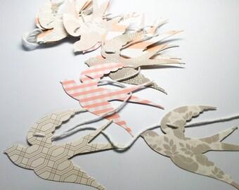Paper Swallows Garland - soft pink , white, grey Birds garland - Wedding Party decoration - hand made paper birds Garland - photo drop