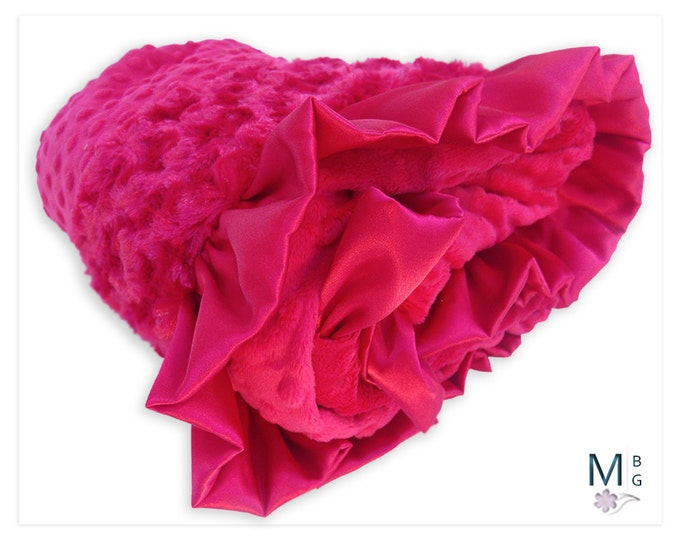 Red minky Dot and Rose Swirl Baby Blanket, Red Minky baby Blanket, Satin Ruffle,
