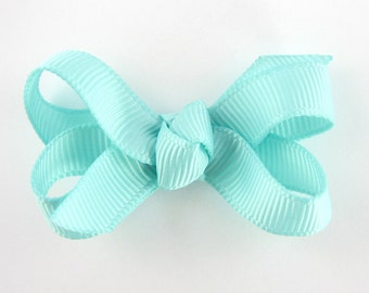 Baby Hair Bow in Aqua Blue - Extra Small Boutique Bow On Mini Snap Clip for Fine Hair Newborn to Toddler - Non Slip Barrette mm