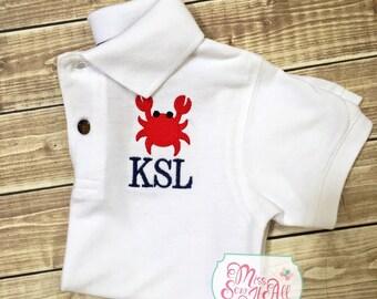 Boys Crab Monogrammed Polo, Boys Crab Shirt, Custom Crab Shirt, Summer Crab Shirt