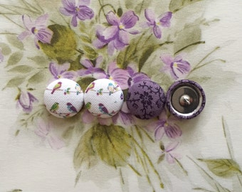 Button Earrings / 2 Pairs / Wholesale Jewelry / Fabric Covered / Stud Earrings / Gifts for Her / Birthday Present / Hypoallergenic Studs