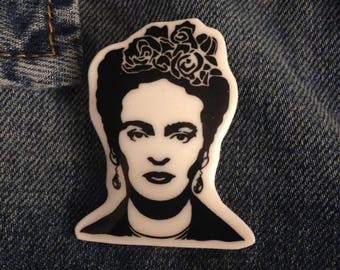 Frida kahlo pin black and white jacket pin, shirt, bag, inspirational artist strong women pins and badges artist inspired buttons and pins