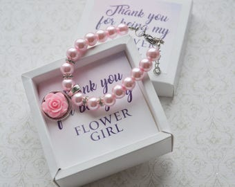 Flower girl gift ideas Flower girl bracelet personalized gift Flower girl jewelry Kids bracelet Kids wedding jewelry Children's Jewelry