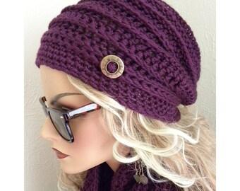 Womens chapeau mauve Violet à la main au crochet chapeau Cloche femmes ados mode automne automne tendances accessoires de mode hiver chapeau violet
