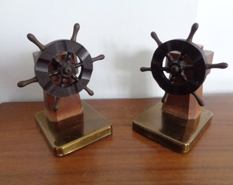 Vintage Mid Century Ships Wheel   Bookends by CHASE