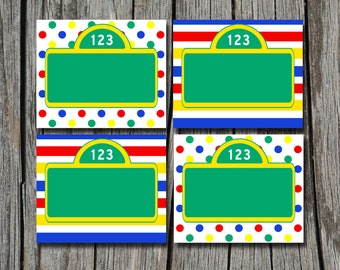 INSTANT DOWNLOAD -  Sesame Street Folding Food Tent Label Dinner Buffet Place Cards or Tags