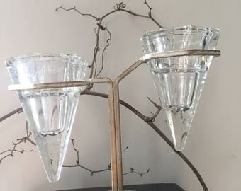 GLASS DISPLAY...2 glass bowls in metal rack-wedding party candle - zen garden party yoga supplies-handmade blown glass stacking group