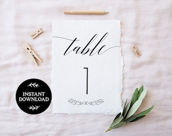Printable Table Numbers, INSTANT DOWNLOAD, x40 Numbers 2 per page, DIY Rustic Wedding Reception, pdf, Digital File - Daphne