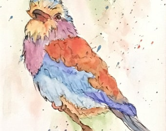 Watercolor Painting, Art Print, Giclee Print, Lilac Breasted Roller, Original Watercolor, Wall Art Decor, Keepsake Gift, Bird Watercolor