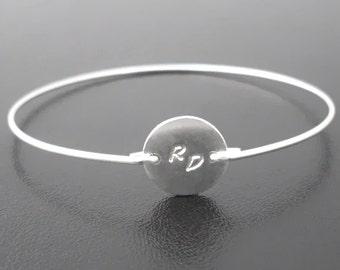 Monogram Bracelet, Silver Personalized Bracelet, Letter Bracelet, 2 Initial Bracelet, Letter Jewelry, Personalized Silver Bangle Bracelet