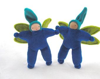 Fairy Doll, blue fairy, waldorf toy, flower fairy, waldorf doll, pixie doll, sprite doll, natural toy, textile doll, Fairie doll