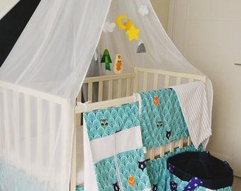 Crib canopy, nursery decor, bed canopy, woodland canopy, hanging canopy, boho decor, baby shower gift, nursery canopy, canopy with holder