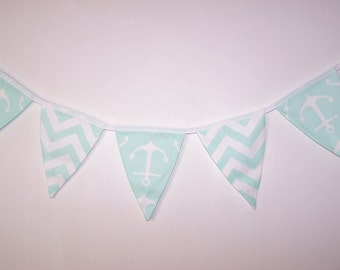 Fabric Bunting. Flags. Banner. Wedding Banner. Party Banner. Baby Shower Bunting. Wedding  Bunting. Mint Green Bunting. Ready To Ship