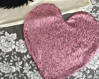 Sequin heart pillow cover double sided choice brilliant 40cm Home Deco home decor