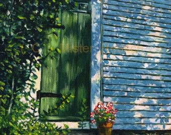 Summer Farmhouse Door at John Greenleaf Whittier Birthplace Original Acrylic Painting by Mark Reusch