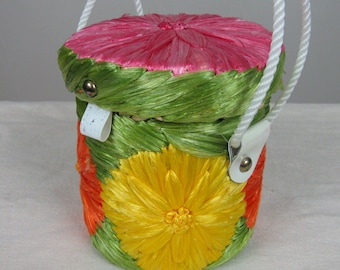 Vintage 1960s Straw Purse 60s Petite Round Handbag with Colorful Raffia Embroidery