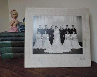 Vintage 1940s Wedding Portrait Bridal Party Photo in Art Deco Cardboard Easel Frame