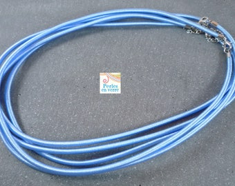 1 necklace sky blue silk 3mm Choker 46cm (COL16)