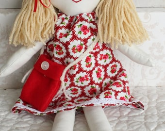 Little fabric doll, handmade traditional style rag doll, cloth doll for small children, matching bag and yarn hair