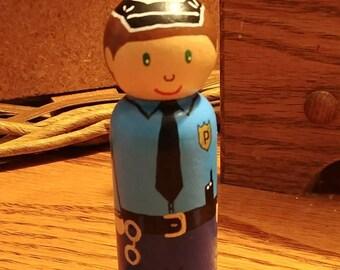 Wooden Peg Doll Police Officer