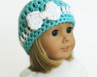 18 inch doll hat, crochet doll clothes, doll beanie with bow, blue doll hat