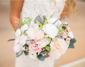 Bridal Bouquet, white pink and lavended bouquet, spring Bouquet