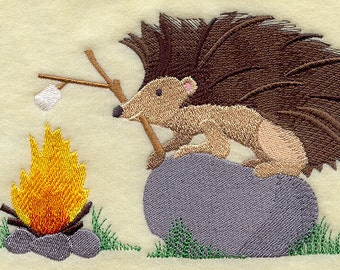 S'more Fun for Hedgehog Embroidered Flour Sack Hand/Dish Towel