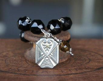 Antique Assemblage Bracelet with 19th Century Black Glass Mourning Beads, Art Deco Watch Fob and