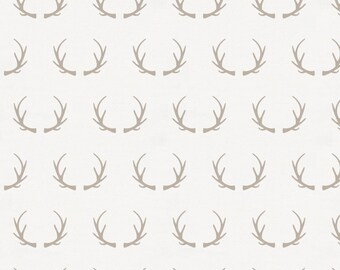 Taupe Antlers Organic Fabric - By The Yard - Gender Neutral / Girl / Boy