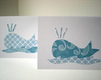 Handmade Cards Set of 2 Whales Sea Life Ocean Marine Mammal Waves Blue White Hand Cut Paper