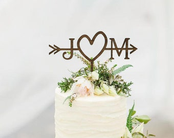 Rustic Wedding Arrow Cake Topper | Custom Cake Topper | Beach Wedding | Bridal Shower Cake Topper |  Rustic Country Chic Wedding Cake Topper