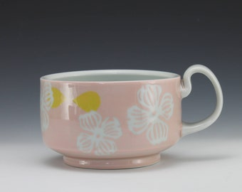 Pastel Pink Porcelain Soup, Cereal, Ice Cream, Chili Bowl