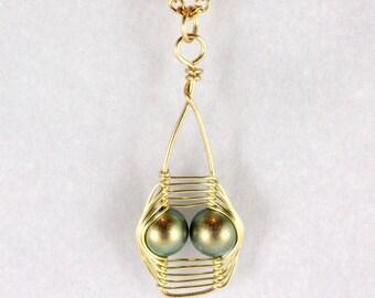 Wire Wrapped Pearl Pendant, Swarovski Pearl, Iridescent Green, Herringbone