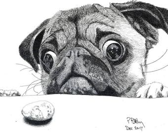 Greeting Card - Pen & Ink Drawing, A5 - That's MY Biscuit